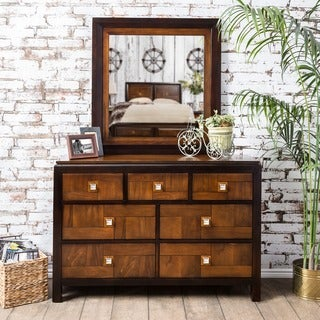 Furniture of America Zuza Walnut 2-piece Dresser and Mirror Set
