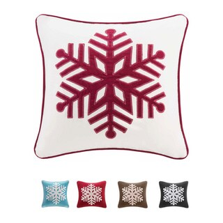 Madison Park Cotton Velvet Snowflake 20-inch Throw Pillow