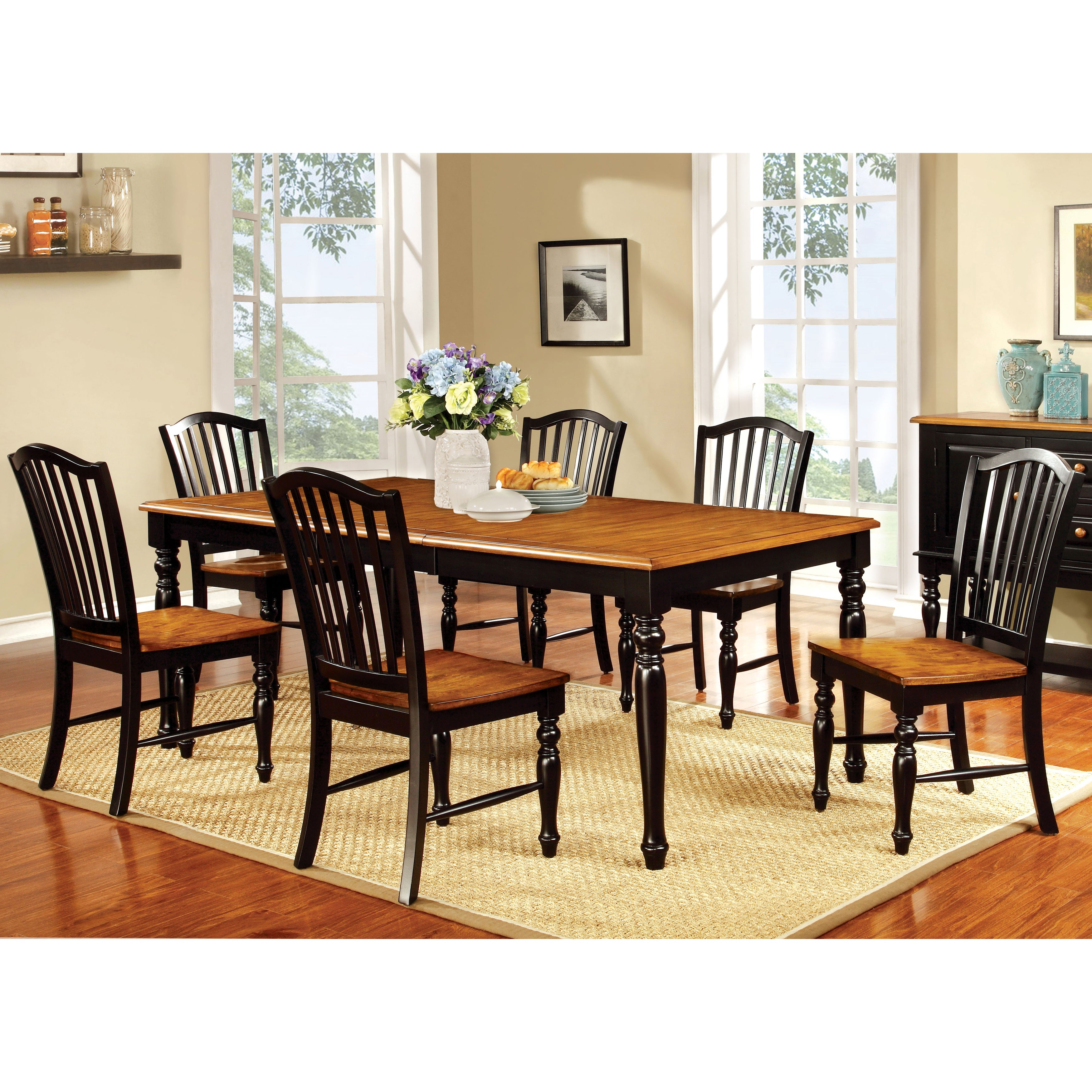 The Gray Barn Oak Glen Two Tone Country Style 18 In Leaf Dining Table