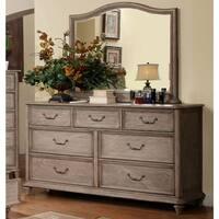 Furniture of America Minka Rustic Grey 2-piece Dresser and Mirror Set
