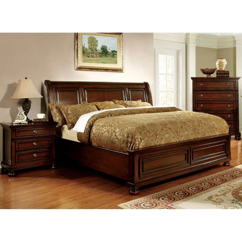 Furniture of America Barelle II 2-piece Cherry Bed and Nightstand Set