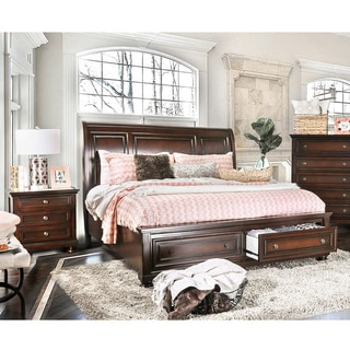 Furniture of America Barelle I Cherry 2-Piece Bed and Nightstand Set