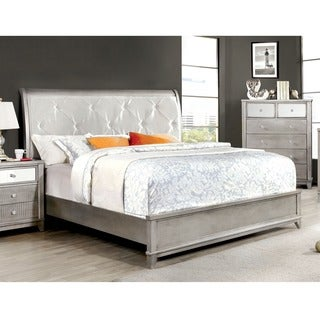 Furniture of America Divonne Modern Crocodile Silver Platform Bed