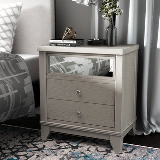 Furniture of America Kivo Modern Silver Solid Wood 3-drawer Nightstand
