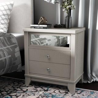 Furniture of America Divonne Modern Crocodile Silver 3-Drawer Nightstand