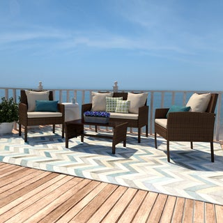Havenside Home Stillwater Brown 4-piece Rattan Indoor/Outdoor Seating Grouping