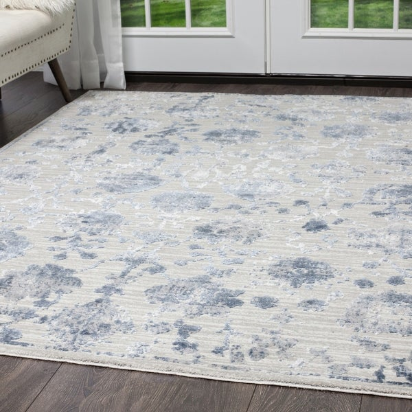 Kenmare Gray Blue Fl Area Rug By Nicole Miller