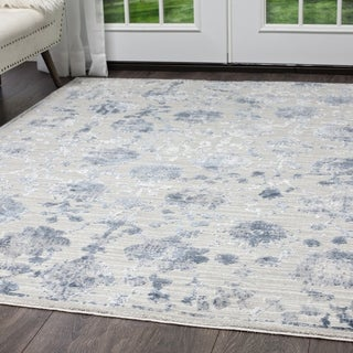 "Kenmare Gray & Blue Floral Area Rug by Nicole Miller - 7'9""x10'2"""