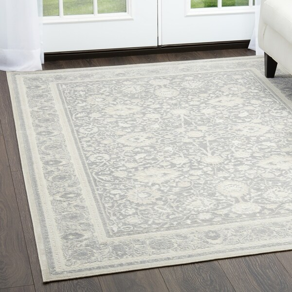 Shop Dark Gray Amp Beige Infinity Border Area Rug By Nicole