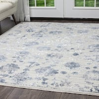 "Kenmare Gray & Blue Floral Area Rug by Nicole Miller - 9'2""x12'5"""
