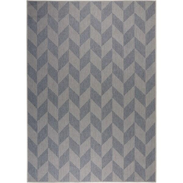 Shop Patio Country Blue Gray Geometric Indoor Outdoor Rug