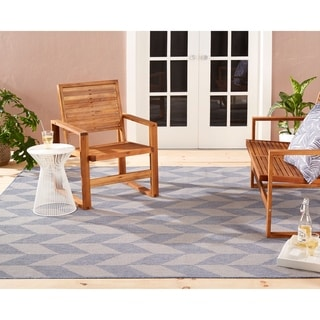 "Patio Country Blue-Gray Geometric Indoor/Outdoor Rug by Nicole Miller - 7'9""x10'2"""