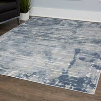"""Kenmare Blue Distressed Area Rug by Nicole Miller - 7'9""""x10'2"""""""