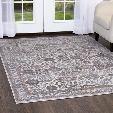 "Gray & Mauve Kenmare Border Area Rug by Nicole Miller - 2'2""x7'2"""