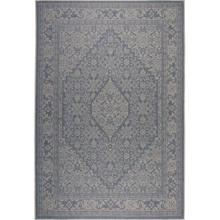 "Patio Country Blue-Gray Persian Indoor/Outdoor Rug by Nicole Miller - 7'9""x10'2"""