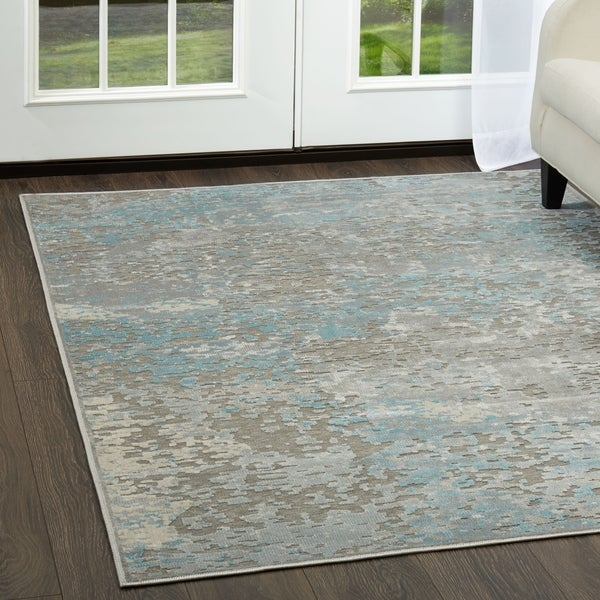 Shop Infinity Gray Teal Marbled Area Rug By Nicole Miller