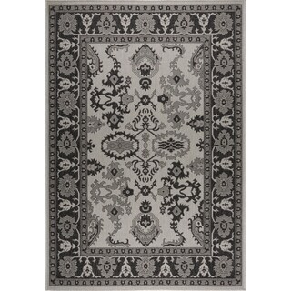 "Patio Country Gray-Black Bordered Indoor/Outdoor Rug by Nicole Miller - 7'9""x10'2"""