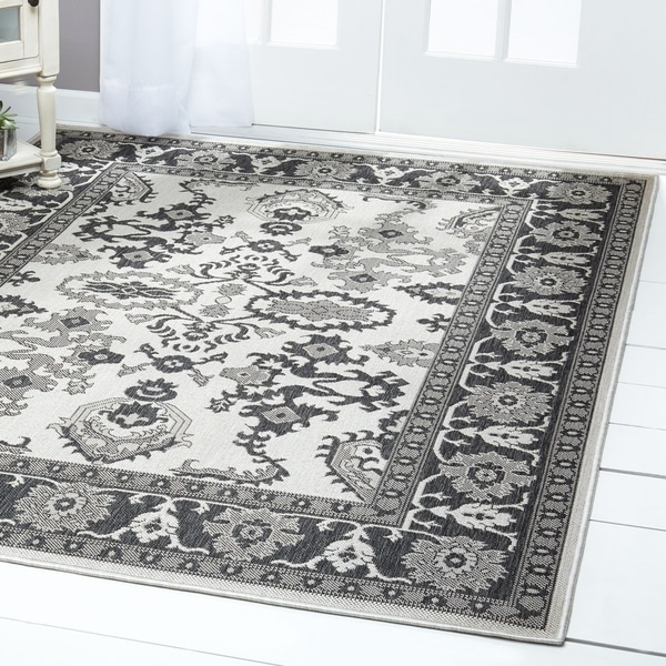 Shop Patio Country Gray Black Bordered Indoor Outdoor Rug