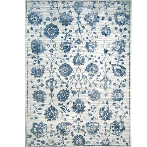 "Kenmare Gray & Blue Floral Area Rug by Nicole Miller - 2'2""x7'2"""