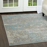 "Infinity Gray-Teal Marbled Area Area Rug  by Nicole Miller - 26""x87"""