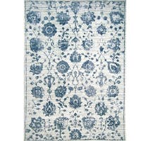 """Kenmare Gray & Blue Floral Area Rug by Nicole Miller - 5'3""""x7'2"""""""