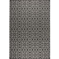 "Patio Country Black-Gray Tiled Indoor/Outdoor Rug by Nicole Miller - 7'9""x10'2"""