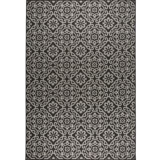 Patio Country Black Gray Tiled Indoor Outdoor Rug By Nicole Miller 7
