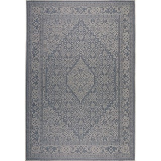 "Patio Country Blue-Gray Persian Indoor/Outdoor Rug by Nicole Miller - 5'2""x7'2"""