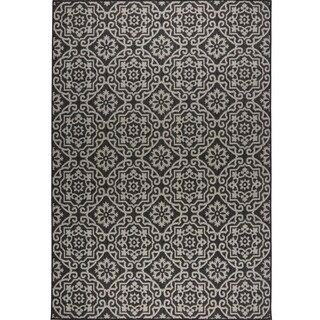 "Patio Country Black-Gray Tiled Indoor/Outdoor Rug by Nicole Miller - 5'2""x7'2"""
