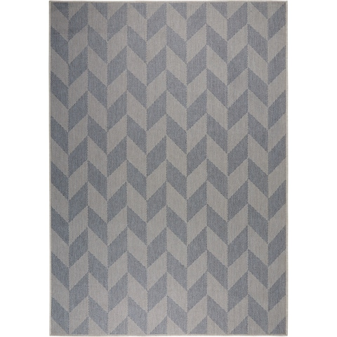 """Patio Country Blue-Gray Geometric Indoor/Outdoor Rug by Nicole Miller - 5'2""""x7'2"""""""