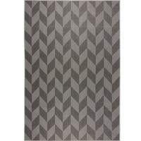 "Patio Country Black-Gray Geometric Indoor/Outdoor Rug by Nicole Miller - 7'9""x10'2"""