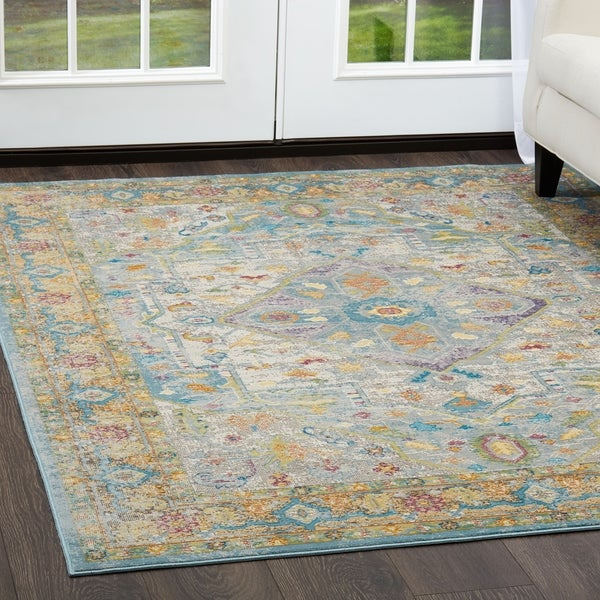 Shop Parlin Gray Yellow Medallion Area Rug By Nicole Miller 7 9 X9