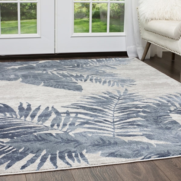 Shop Kenmare Blue Tropical Leaves Area Rug By Nicole