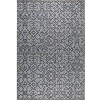 "Patio Country Blue-Gray Tiled Indoor/Outdoor Rug by Nicole Miller - 7'9""x10'2"""