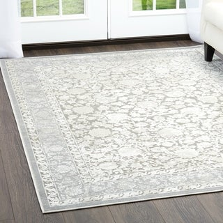 "Dark Gray & Gray Infinity Transitional Area Rug by Nicole Miller - 26""x87"""