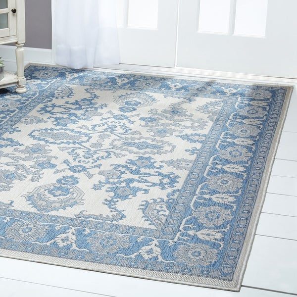 Shop Patio Country Gray Blue Bordered Indoor Outdoor Rug