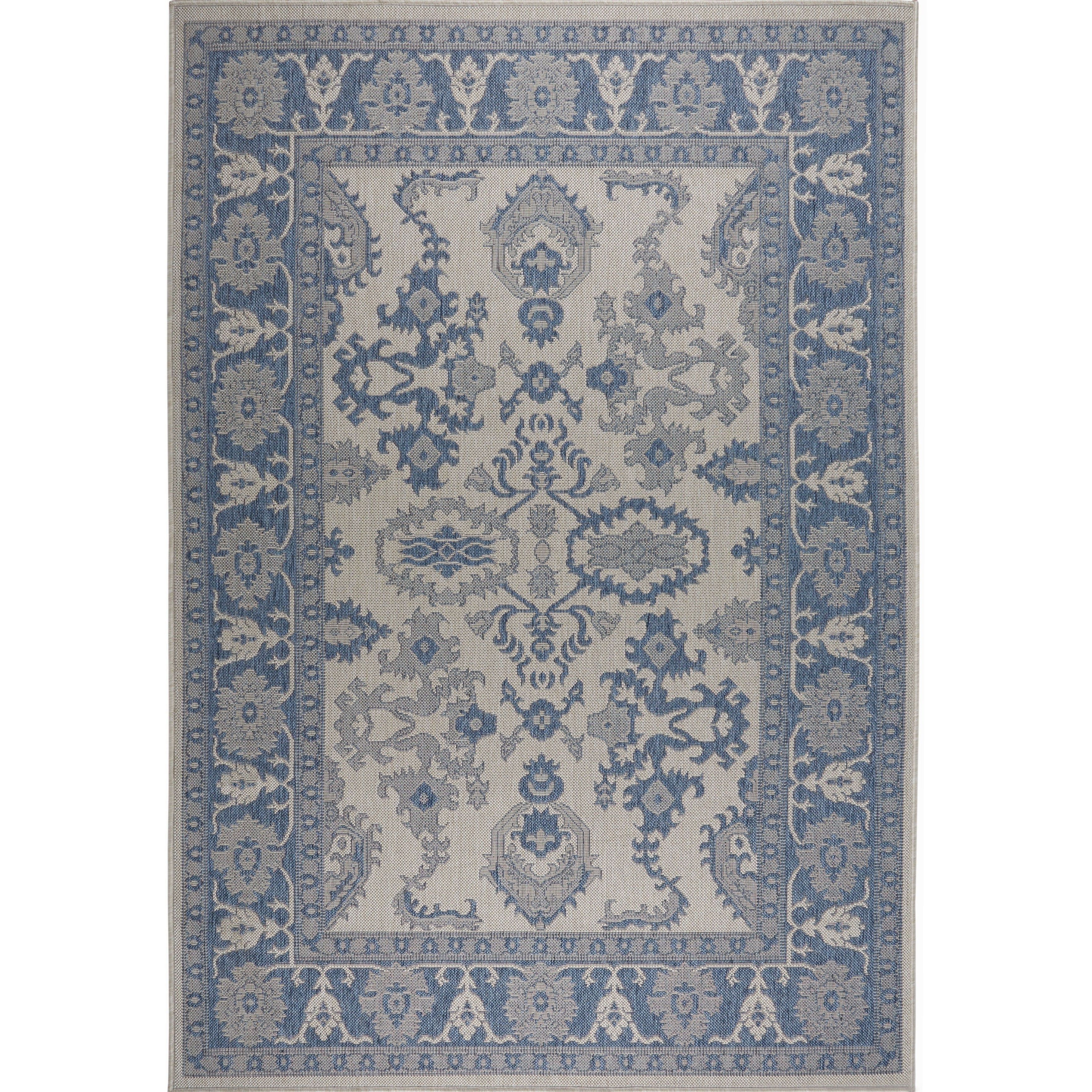Details About Patio Country Gray Blue Bordered Indoor Outdoor Rug By Nicole Miller 5 2 X7