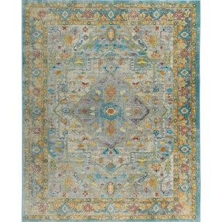 """Parlin Gray-Yellow Medallion Area Rug by Nicole Miller - 31""""x47"""""""
