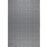 """Patio Country Blue-Gray Tiled Indoor/Outdoor Rug by Nicole Miller - 5'2""""x7'2"""""""