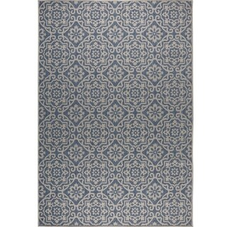 "Patio Country Blue-Gray Tiled Indoor/Outdoor Rug by Nicole Miller - 5'2""x7'2"""