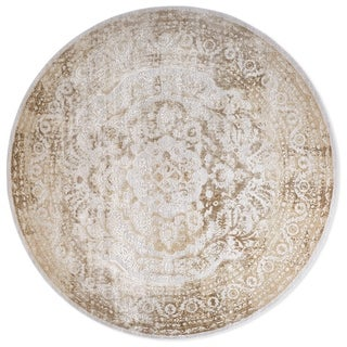 Kenmare Gray-Oat Medallion Area Rug by Nicole Miller - latex free/7'10""