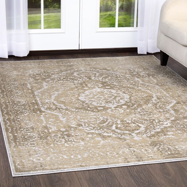 """Kenmare Gray-Oat Medallion Area Rug by Nicole Miller - latex free/7'10"""""""