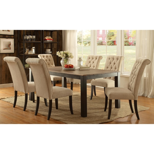 Furniture of America Sheila Rustic 7-piece Two-tone Dining Set