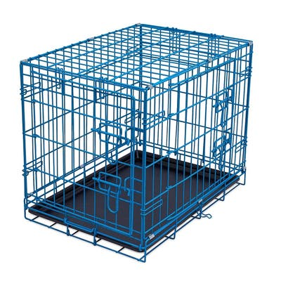 Double-Door Steel Crate, Collapsible and Foldable Wire Dog Kennel