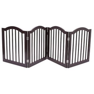 Internet's Best Pet Gate with Arched Top 4 Panel 24 Inch Step Over Fence Folding Doorway Hall Stairs Dog Puppy Gate