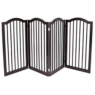 Internet's Best Pet Gate with Arched Top 4 Panel 36 Inch Tall Fence Free Standing Doorway Hall Stairs Dog Puppy Gate
