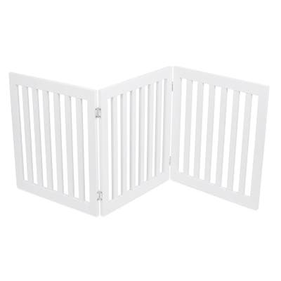 Internet's Best Traditional Pet Gate | 3 Panel | 24 Inch Step Over Fence | Free Standing Doorway Hall Stairs Dog Puppy Gate