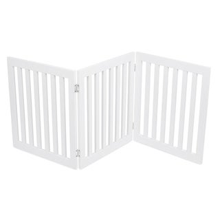 Internet's Best Traditional Pet Gate 3 Panel 24 Inch Step Over Fence Free Standing Doorway Hall Stairs Dog Puppy Gate