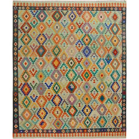 """Kilim Arya Nuriel Blue/Blue Wool Rug - 8' 3"""" x 9' 7"""""""