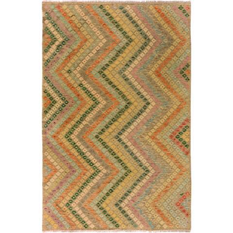 "Kilim Arya Chasity Gray/Teal Wool Rug - 6' 0"" x 8' 0"""